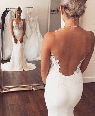Sheer back Mermaid Wedding Dress Sleeveless Lace summer Beach Wedding Gowns BA3612_1