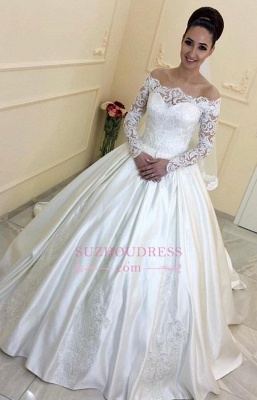 Off-the-Shoulder Sweep-Train  A-line Lace Long-Sleeves Wedding Dresses BA7381_2