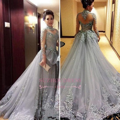 Modest Tulle Long-Sleeves High-Neck Appliques Prom Dress_1