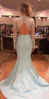 Mint Long Sleeves Mermaid Long Two Piece High Neck Prom Dresses  AN0_4