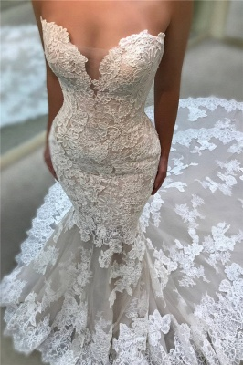 Chic Cathedral Train Lace Wedding Dresses Backless Strapless Mermaid Bridal Gowns On Sale_1