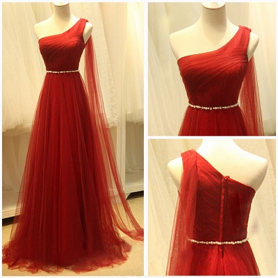 Elegant One Shoulder Evening Dresses Sheer Tulle Ruffles Dark Red Elegant Prom Dresses_2