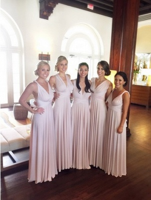 New Arrival V-Neck Chiffon Long Bridesmaid Dress Simple Empire Crossed  Dresses for Wedding_2