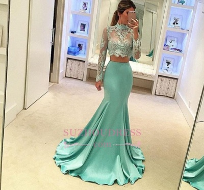 Mint Long Sleeves Mermaid Long Two Piece High Neck Prom Dresses  AN0_2