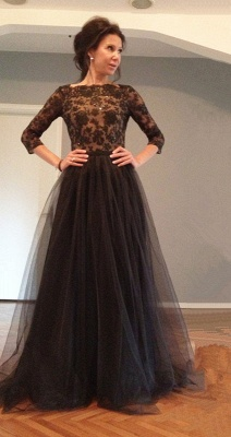Black 3/4 Sleeve Floor Length Evening Dress Latest Lace Open Back Formal Occasion Dresses TB0121_1