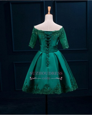 Short Appliques Green Charming Half-Sleeve Lace Homecoming Dress_4