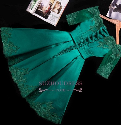Short Appliques Green Charming Half-Sleeve Lace Homecoming Dress_3