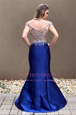 Off-the-Shoulder Mermaid Prom Dress | Sexy Blue Crystal Evening Dress_4