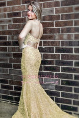 Simple Sleeveless Mermaid Formal Dresses | Halter Open-Back Lace Evening Dress_1