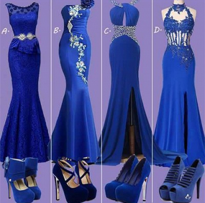 Pretty Lace Royal Blue Dress with Crystals Belt_1