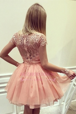 A-Line Glamorous Long Sleeves  Short Appliques Homecoming Dress_1
