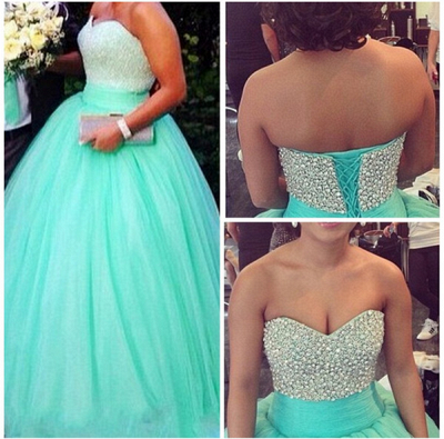 Cute Sweetheart Crystal Long Prom Dress Light Green Tulle Ball Gown Quinceanera Dresses CJ0358_3