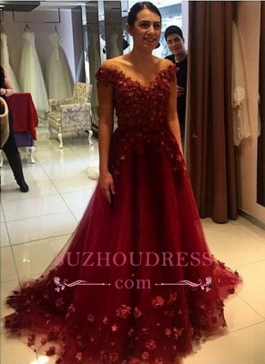 Formal 3D Floral Appliques Formal Off-the-Shoulder Puffy Red Evening Gowns_3