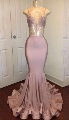 Spaghetti Straps Sparkling Beads Prom Dresses |  Pink Sequins Sexy Backless Evening Gown BA8240_1
