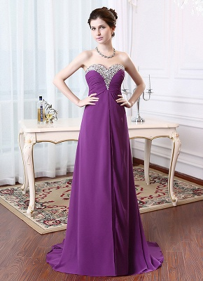 A-Line Crystal Sweetheart Chiffon Long Evening Dress with Rhinestones Popular Lace-up Empire Prom Dress_3