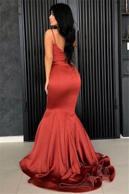 Affordable Spaghetti Straps Burgundy Mermaid Prom Dress  Ruffles Evening Dresses Online_3