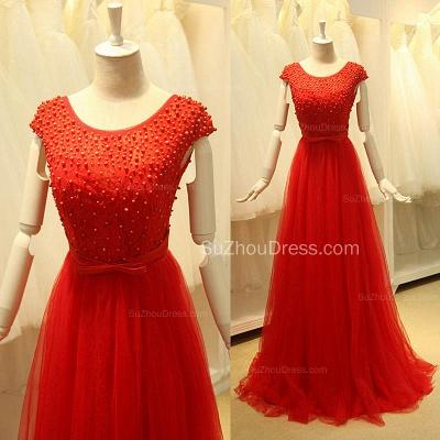 Short Sleeve Red Tulle Lace Long Prom Dresses with Beadings Open Back Elegant Designer Zipper Custom Dresses for Juniors_3