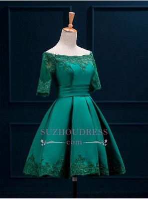 Short Appliques Green Charming Half-Sleeve Lace Homecoming Dress_5