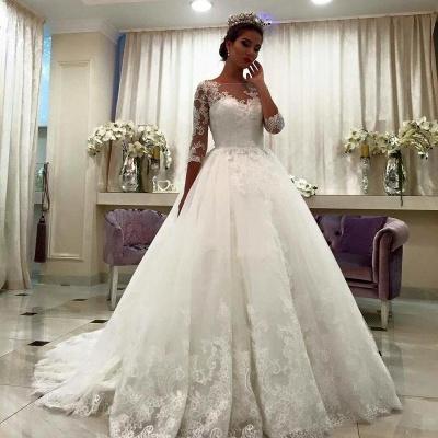 Bateau Half Sleeve Lace Ball Gown Bridal Dresses Appliques Chapel Train Wedding Dresses  BA6591_3