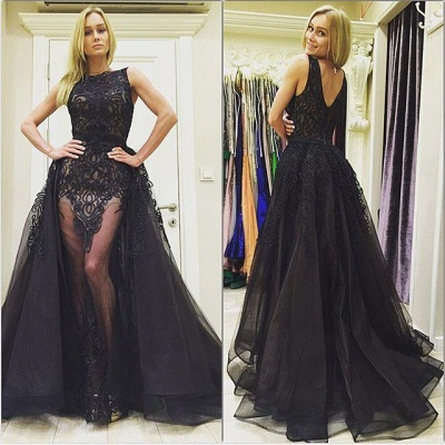Chic  Black Evening Dresses Overskirt Sexy long Prom Gowns_3