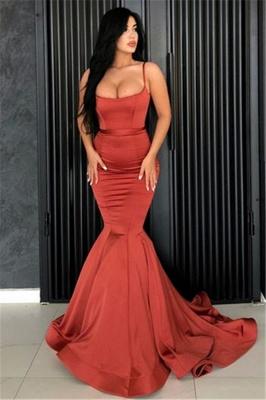 Affordable Spaghetti Straps Burgundy Mermaid Prom Dress  Ruffles Evening Dresses Online_1