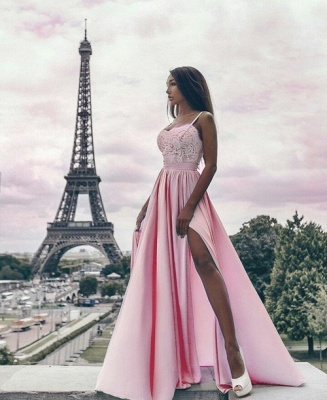 Sexy Side Slit Spaghetti Straps Prom Dresses  Pink Appliques Formal Evening Gown_4