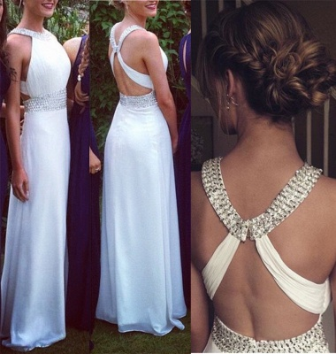 Crystal White Halter A-Line Prom Dress with Beadings Crossed Chiffon Long Dresses for Women_2