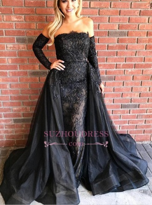 Gorgeous Black Long Sleeves Evening Gowns  Sheath Beads Prom Dresses with Over-Skirt_4
