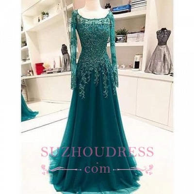A-Line Long-Sleeves Lace Appliques  Scoop Beaded Blue Evening Dress_1