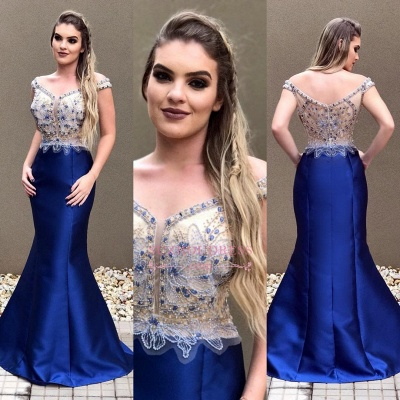 Off-the-Shoulder Mermaid Prom Dress | Sexy Blue Crystal Evening Dress_1