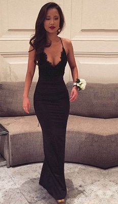 Sexy Black Halter Formal Party Dress Mermaid Lace Spaghetti Straps Evening Gowns  BA4216_2