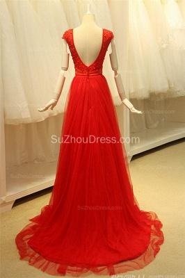 Short Sleeve Red Tulle Lace Long Prom Dresses with Beadings Open Back Elegant Designer Zipper Custom Dresses for Juniors_2