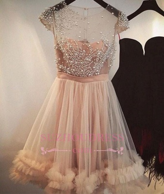 A-line Sheer Capped Sleeves Short Party Dress  Champagne Beading Tulle Homecoming Dresses_1
