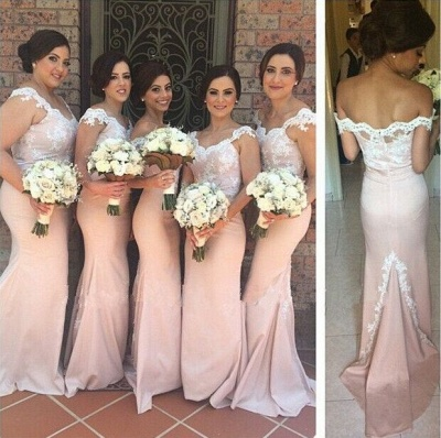 Latest Pink Mermaid Lace Bridesmaid Dress New Arrival Sweep Train Cheap Wedding Party Dress_3