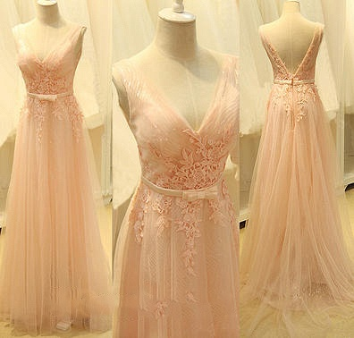 Pink Deep V Neck Shher Tulle Long Prom Dresses with Appliques Bowknot Sash Open Back  Formal Evening Gowns_2