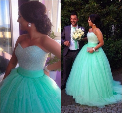 Cute Sweetheart Crystal Long Prom Dress Light Green Tulle Ball Gown Quinceanera Dresses CJ0358_2