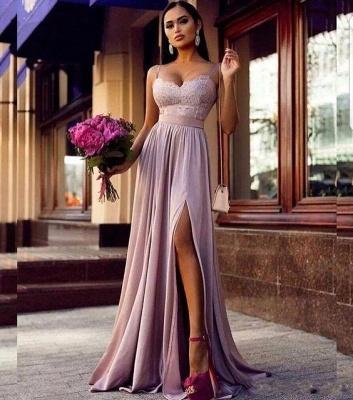 Sexy Straps Lace Split Prom Dress  | Sleeveless Lavender Long Formal Evening Dress_3