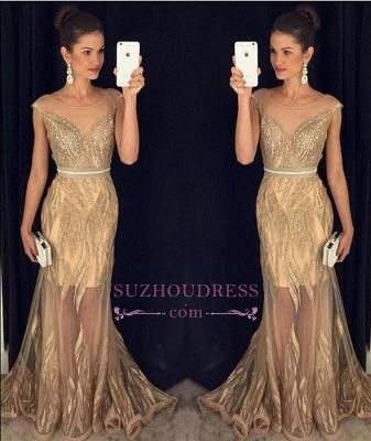 Sleeveless New Beadings Sexy Mermaid Sweep Train Scoop  Prom Dresses GA081_1