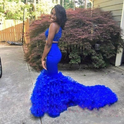 Royal Blue Two Pieces Mermaid Prom Dresses  High Neck Tiered Sleeveless Evening Dresses with Beadings SK0131_3