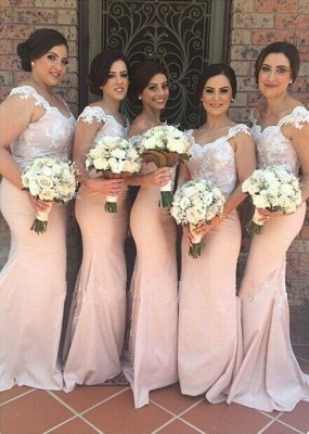 Latest Pink Mermaid Lace Bridesmaid Dress New Arrival Sweep Train Cheap Wedding Party Dress_1