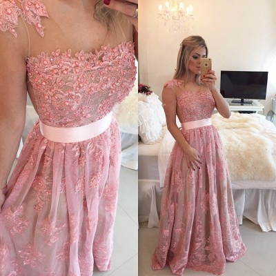 Lace Beadings Cute  Latest Prom Dresses Sheer Back Plus Size Formal Occasion Dress BMT011_2
