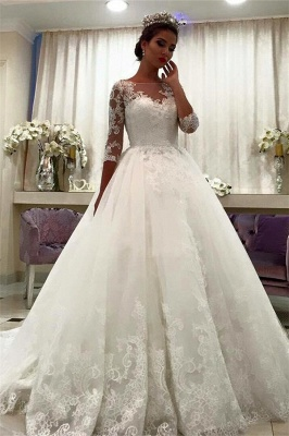 Bateau Half Sleeve Lace Ball Gown Bridal Dresses Appliques Chapel Train Wedding Dresses  BA6591_2