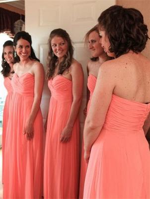 Chiffon Sweetheart  Long Bridesmaid Dresses Simple Floor Length Plus Size Wedding Dress Under 100_2