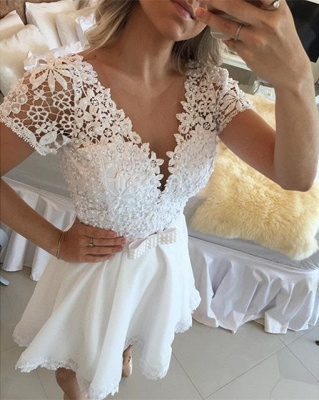 New Arrival Short Sleeve Lace Homecoming Dress A-line Beadings Mini Cocktail Dress_5