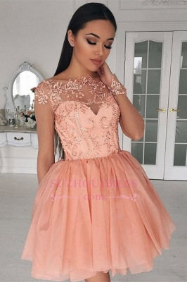 A-Line Glamorous Long Sleeves  Short Appliques Homecoming Dress_3