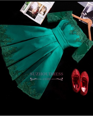 Short Appliques Green Charming Half-Sleeve Lace Homecoming Dress_1