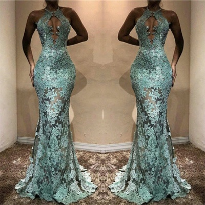 Halter Lace See Through Prom Dresses  Mermaid Sleeveless Evening Gown FB0198_3