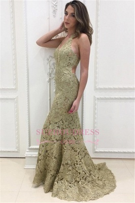Simple Sleeveless Mermaid Formal Dresses | Halter Open-Back Lace Evening Dress_3