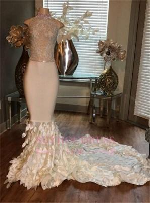 Sleeveless High-Neck Mermaid Appliques Sleeveless Prom Dresses with Ruffles_1