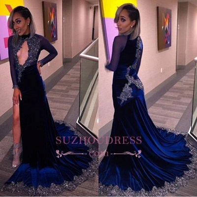 High Slit Long Sleeves Velvet Evenikng Dress  Sexy Keyhole Sequins Halter  Velvet Prom Dress BA4812_1